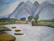 Landschaft, Aquarellmalerei, Wasser, Blau