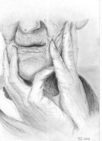 Bleistiftzeichnung, Alt, Frau, Portrait