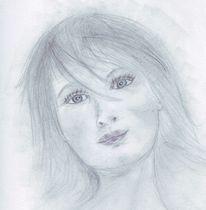 Mädchen, Gesicht, Frau, Bleistiftzeichnung