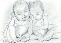 Bleistiftzeichnung, Zeichnung, Baby, Freunde