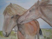 Liebe, Aquarellmalerei, Pferde, Tiere