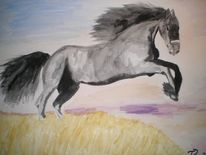 Friese, Pferde, Aquarellmalerei, Tiere