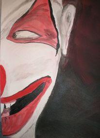 Clown, Böse, Acrylmalerei, Aquarellmalerei