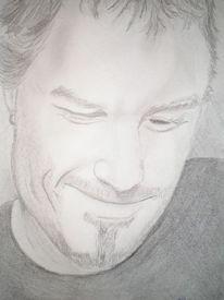 Portrait, Zeichnung, Bleistiftzeichnung, Mann