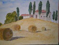 Stroh, Toskana, Landschaft, Aquarellmalerei