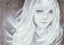 Bleistiftzeichnung, Kind, Hexenkind, Zeichnung