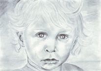 Portrait, Junge, Kind, Bleistiftzeichnung