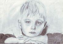Kind, Portrait, Bleistiftzeichnung, Zeichnungen