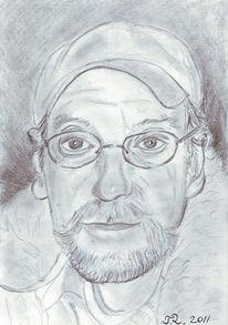 Gesicht, Bleistiftzeichnung, Portrait, Mann