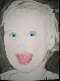 Kind, Gesicht, Aquarellmalerei, Portrait