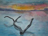 Wasser, Wolken, Stamm, Baum