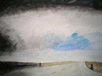 Einsamkeit, Landschaft, Gewitter, Aquarellmalerei