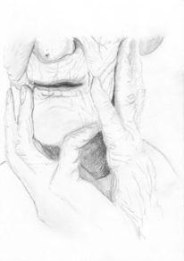 Zeichnung, Oma, Bleistiftzeichnung, Portrait