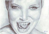 Lachen, Frau, Bleistiftzeichnung, Portrait