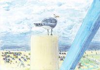 Verdrängungswettbewerb, Norddeich, Strandkörbe, Meer