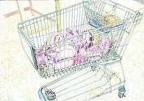 Supermarkt, Aquarellmalerei, Kind, Einkaufswagen