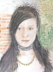 Gruftig, Mädchen, Portrait, Schwarzhaarig