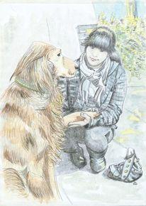 Hund, Begegnung, Zufall, Mädchen