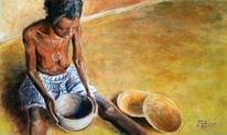 Arbeit, Frau, Afrika, Malerei