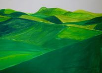 Feld, Piemont, Hügel, Malerei