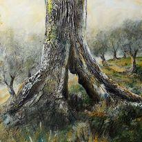 Olivenbaum, Strunk, Toskana, Malerei