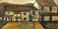 Haus, Erdfarben, Provence, Malerei