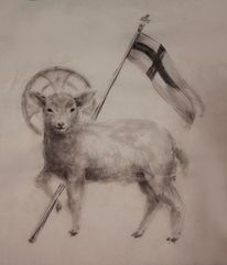 Tuschezeichnung, Agnus dei, Malerei