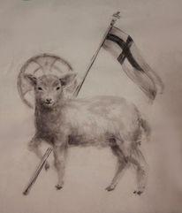 Agnus dei, Tuschmalerei, Malerei
