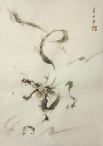 Tuschezeichnung, Drache, Sumi, Japanische bilder