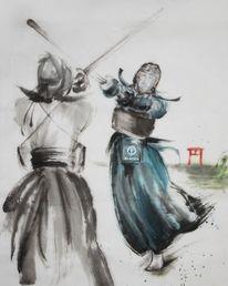Kampfkunst, Tuschezeichnung, Japanisch, Sumie