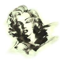 Monroe, Kakejiku, Tuschezeichnung, Japanisch