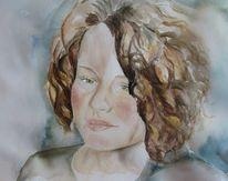 Lockig, Figural, Grüne augen, Portrait
