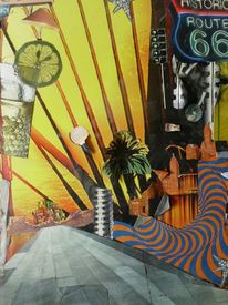 Collage surreal, Outsider art, Route 66, Mischtechnik