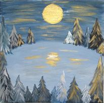 Winter, Wald, Vollmond, Malerei