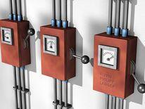 Schaltkästen, Elektrokasten, Stromleitungen, Blechkasten