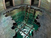 Cellar under water, Überschwemmung, Imagery, Abbruchkante