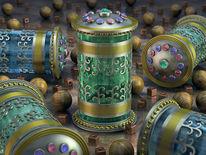 Urne, Würfel, Silber, Zylindrisch