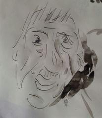 Grafik, Portrait, Karikatur, Gesicht
