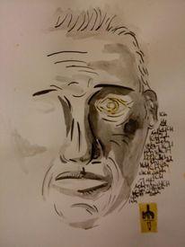 Feder, Portrait, Tusche, Zeichnungen