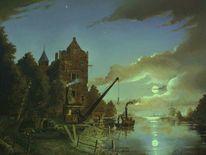 Dampfboot, Slusselloch slussel, Romantiek, Landschaft