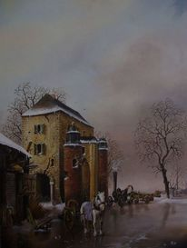 Fantasie, Landschaft, Pferde, Winter