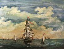 Wasser, Ölmalerei, Romantik, Hafen