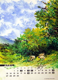 Schaf, Frühling, Baum, Romantik