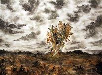 Baum, Landschaft, Einsamkeit, Kahl