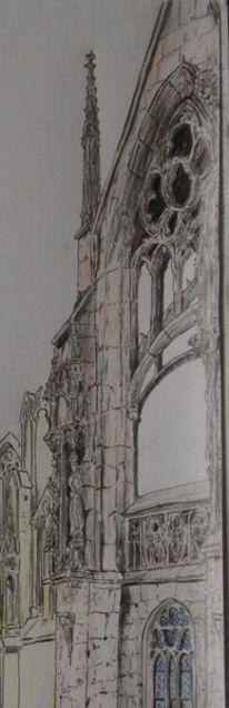 Architektur, Gotisches fenster, Gothic, Malerei
