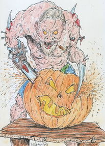 Halloween, Comic, Monster, Kürbisse