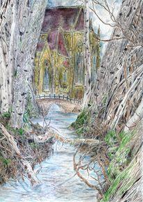 Brücke, Gothic, Wald, Romantik