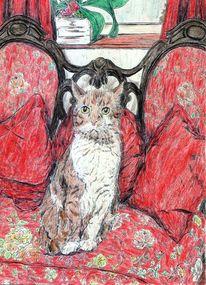 Zeichnung, Kugelschreiber, Sofa, Katze