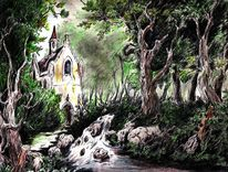 Kirche, Baum, Wald, Mystik