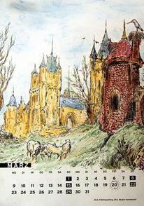 Schloss, Schaf, Turm, Frühling